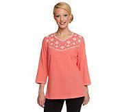 Denim & Co. 3/4 Sleeve Cotton GauzeTop w/ Cross Stitch Embroidery - A199931