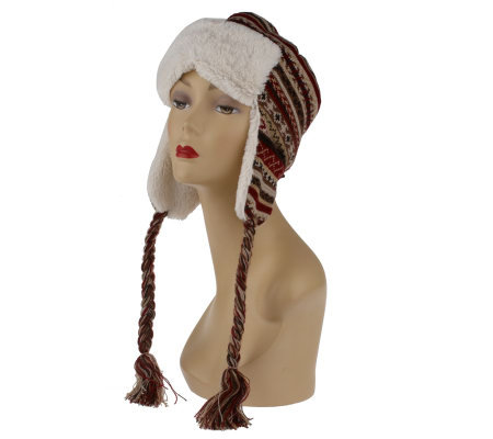 MUK LUKS Knitted Faux Fur Trapper Hat