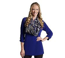 Susan Graver Liquid Knit Ruched Sleeve Tunic with Eternity Scarf