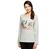 Quacker Factory Holiday Embroidered Long Sleeve T-Shirt - A218731