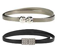 Keggy Set of 2 Belts w/Antique Silve Rhinestone and Studded Buckles - A221731