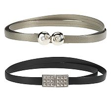 Keggy Set of 2 Belts w/Antique Silve Rhinestone and Studded Buckles