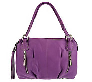 As Is B. Makowsky Leather Zip Top Pocket Satchel - A227531