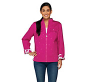 Quacker Factory Print-to-Solid Reversible Woven Jacket - A230731