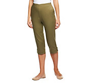 Denim & Co. How Timeless Stretch Twill Capris with Side Tabs - A231131