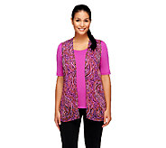 Bob Mackies Sheer Printed Vest & Scoopneck T-shirt Set - A234631