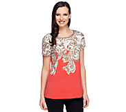Susan Graver Liquid Knit Border Printed Short Sleeve Top - A253031