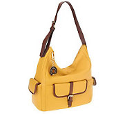 As Is Isaac Mizrahi Live! Bridgehampton Leather Hobo with Pockets - A253831
