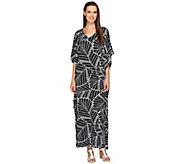 Joan Rivers Leaf Print Jersey Knit Caftan - A263431