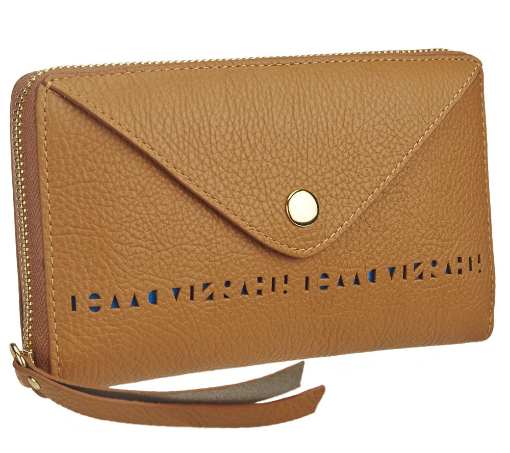 Isaac Mizrahi Live! Bridgehampton Perforated Leather Wallet - A264631 — QVC.com