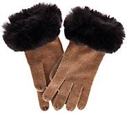 Isaac Mizrahi Live! 2-Ply Cashmere Gloves w/ Faux Fur Trim - A267931