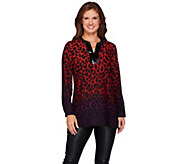 Susan Graver Artisan Printed Feather Weave Sequin Trimmed Tunic - A270331
