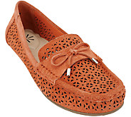 As Is Isaac Mizrahi Live! Perforated Suede Moccasins with Bow - A270931