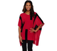 Attitudes by Renee Color-Block Sweater Knit Poncho
