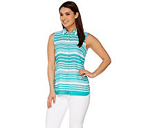 Susan Graver Striped Feather Weave Sleeveless Button Up Shirt - A276431