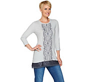 LOGO by Lori Goldstein Embroidered Knit Top with Lace & Chiffon - A276631