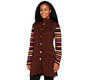As Is Bob Mackies Striped Sleeve Multi-color Sweater Jacket - A277331
