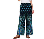 Isaac Mizrahi Live! Regular Paisley Print Wide Leg Pants - A277731