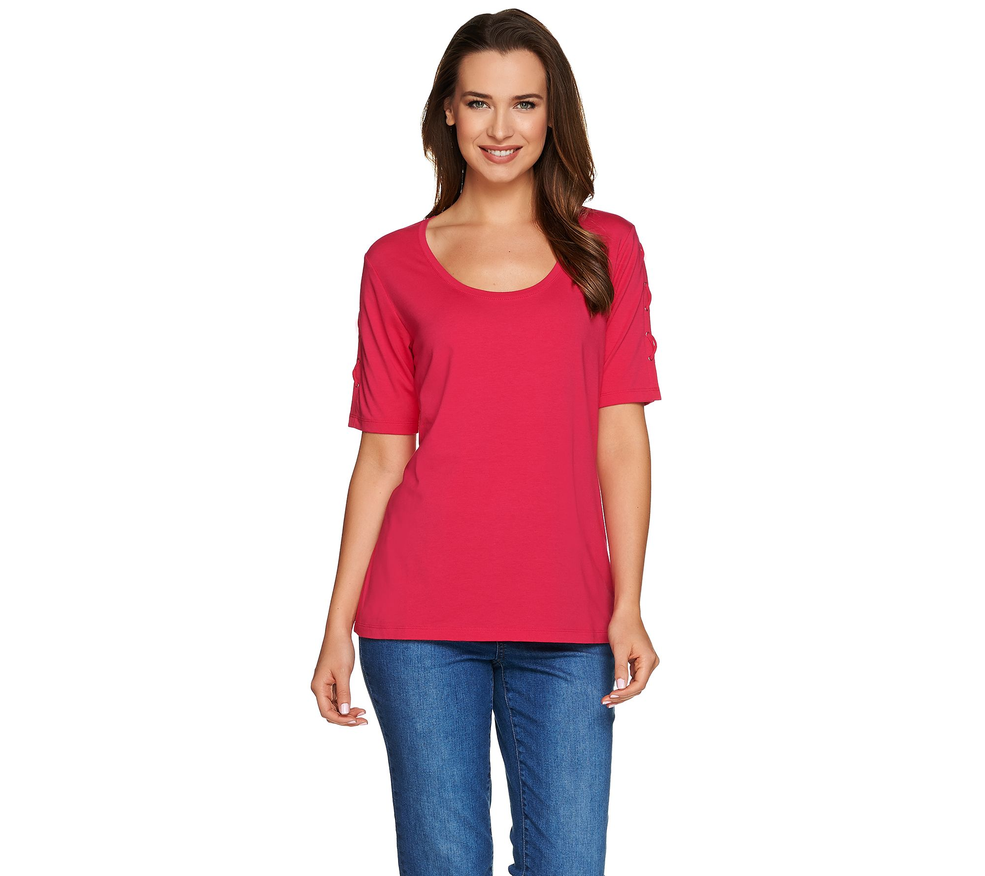 Susan Graver Weekend Cotton Modal Short Sleeve Top with ...