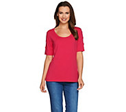 Susan Graver Weekend Cotton Modal Short Sleeve Top with Sleeve Detail - A277831