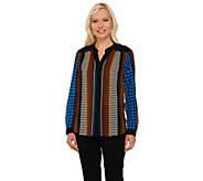 As Is Bob Mackies Printed Long Sleeve Button Front Top - A280731