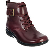 As Is Clarks Leather Lace-up Ankle Boots w/ Buckle Detail - Kearns Admire - A281031