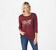 Quacker Factory Holiday Bicycle 3/4 Sleeve T-shirt - A281831