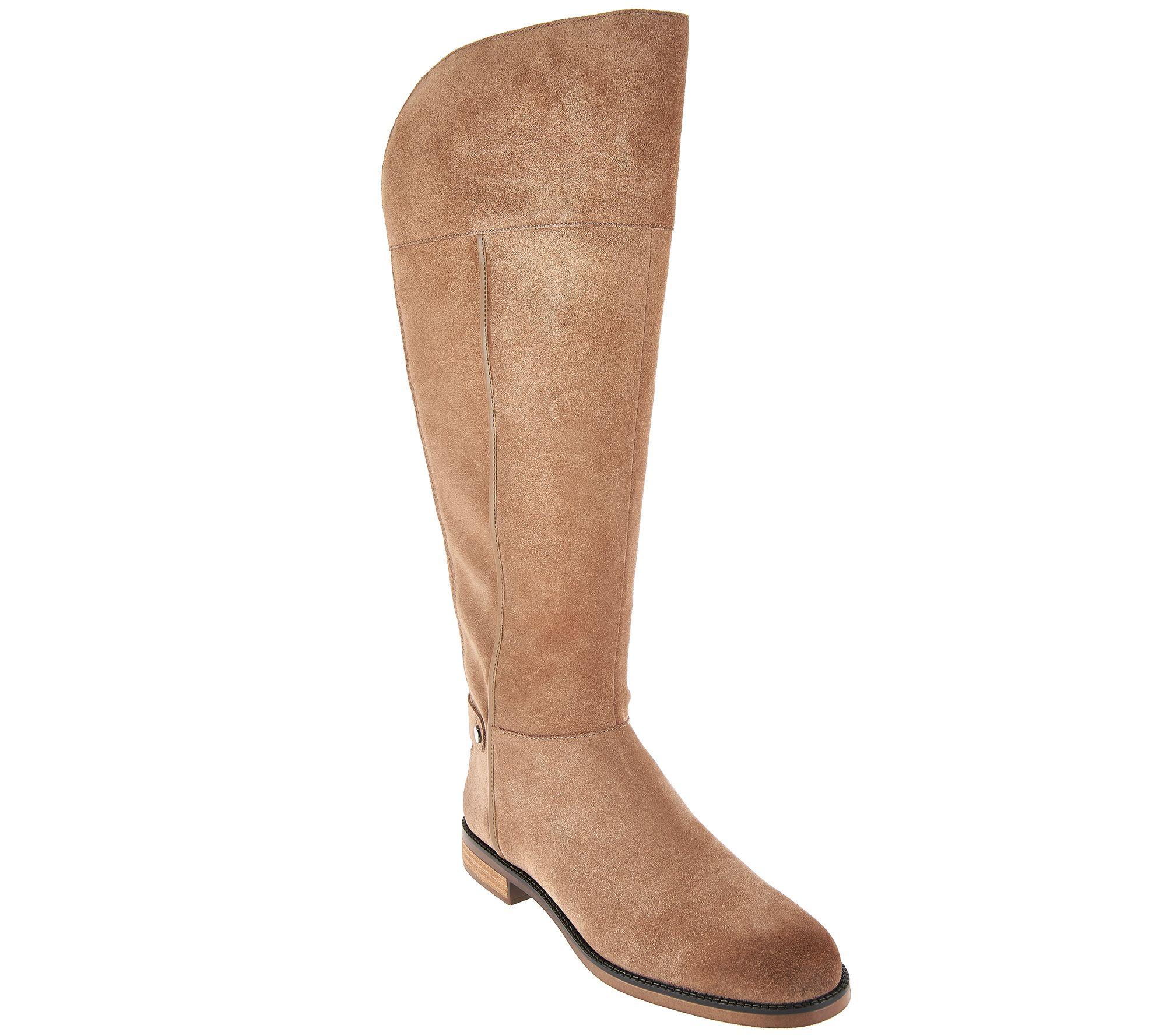 franco sarto suede wide calf shaft boots christine