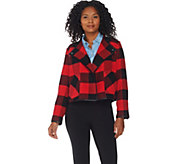 Studio by Denim & Co. Buffalo Plaid Printed Drape Front Jacket - A284531