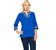 Denim & Co. 3/4 Sleeve Crinkle Gauze Top with Embroidery - A291631
