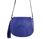As Is orYANY Pebbled Leather Saddle Bag w/ Whipstich Detail - Nikita - A296831