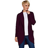 Isaac Mizrahi Live! Mixed Stitch Open Front Shawl Collar Cardigan - A299831