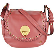 As Is orYANY Pebble Leather Saddle Bag - Evelyn - A300231