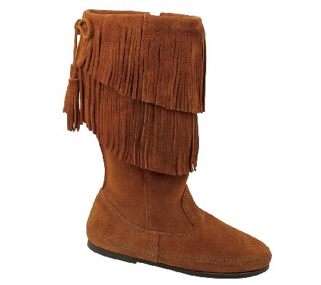 Minnetonka Mid Calf Two Layer Fringe Boots - Page 1 — QVC.com