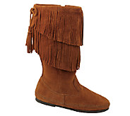 Minnetonka Mid Calf Two Layer Fringe Boots - A333431