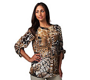 Susan Graver Georgette Animal Print Button Front Blouse - A90831