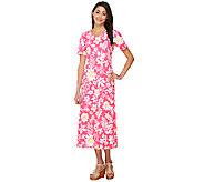 Denim & Co. Short Sleeve V-neck Floral Print Knit Dress - A214532