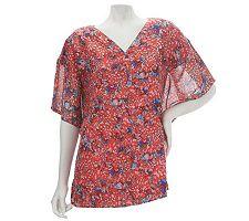 Dennis Basso Floral Print Kimono Sleeve V-Neck Top