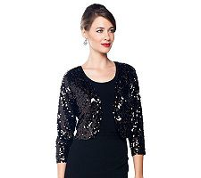 Joan Rivers Sequin Shrug with 3/4 Sleeves