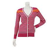 Denim & Co. Long Sleeve V-Neck Stripe Cardigan - A230432