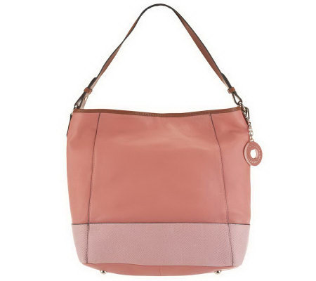 Isaac Mizrahi Live! Bridgehampton Leather Hobo w/ Textured Trim