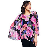 M by Marc Bouwer Floral Print Pleat Sleeve Blouse - A231232