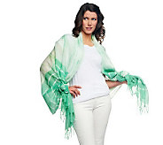 Lisa Rinna Collection Tie Dye Printed Scarf with Fringe - A231432