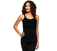 Kathleen Kirkwood Stretch Cotton Tank with Gathered Lace - A234232