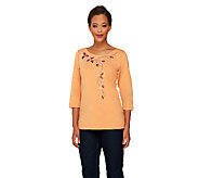 Bob Mackies Scoop Neck 3/4 Sleeve Knit Top w/ Embellishment - A234632