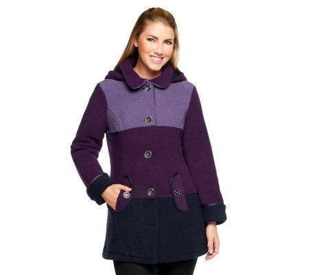 Susan Graver Boucle Fleece Button Front Color Block Coat