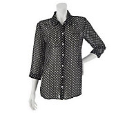 As Is Susan Graver Printed Chiffon Button Front 3/4 Sleeve Blouse - A241032