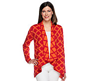 Susan Graver Jacquard Knit Long Sleeve Drape Front Cardigan - A251332