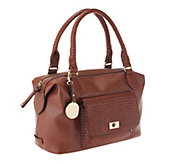 Liz Claiborne New York Satchel with Basketweave Pocket Detail - A251532