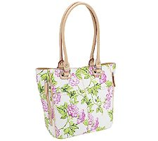 Tignanello Printed Leather Bed of Roses Tote Bag